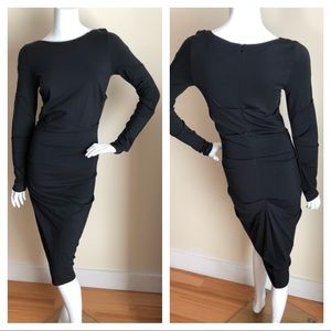 Nicole Miller Collection ruched black midi dress